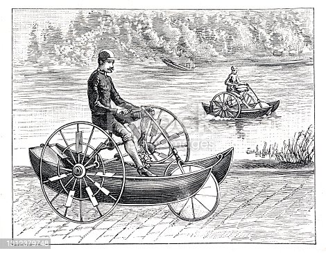 istock Man riding amphibious tricycle 1893 1312379748