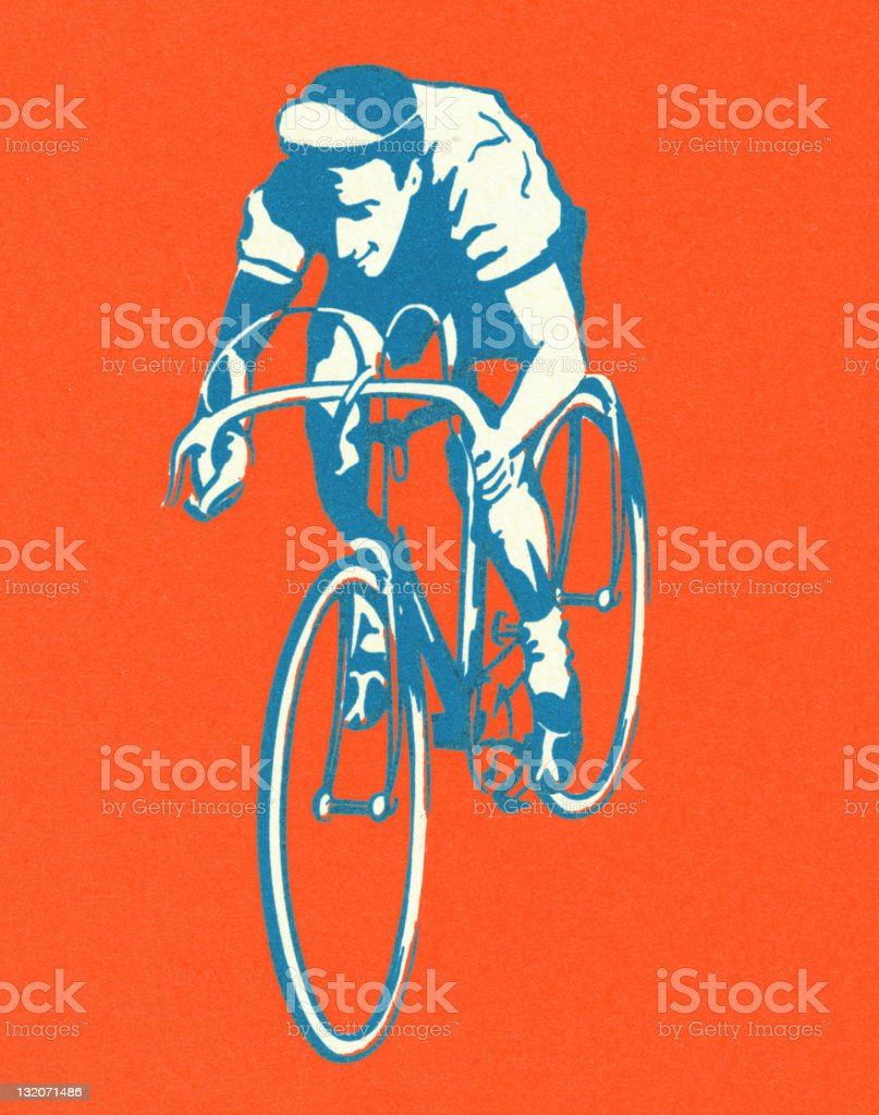 Man Riding Bicycle vector art illustration