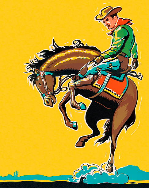 man riding bucking horse - rodeo stock illustrations, clip art, cartoons, & icons