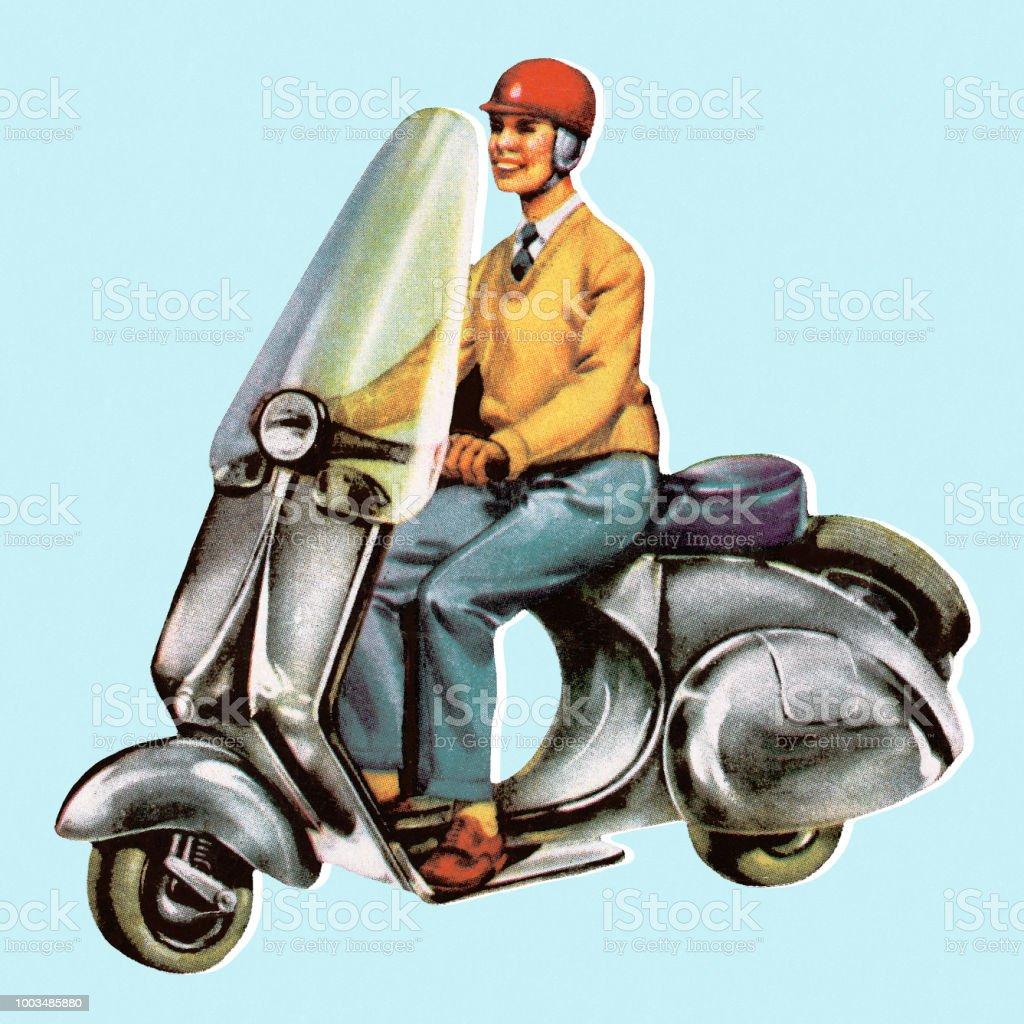 Man Riding Scooter vector art illustration
