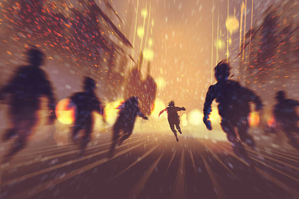 man runing away from zombies man runing away from zombies,burning city in background,illustration,digital painting escaping stock illustrations