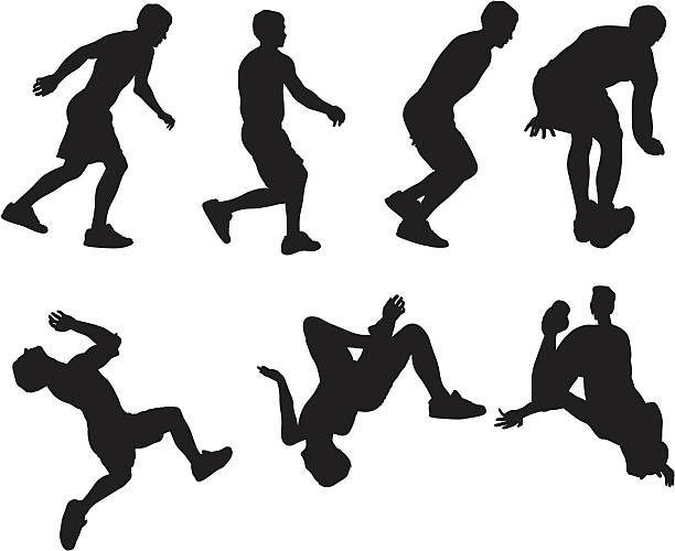 stockillustraties, clipart, cartoons en iconen met man running and jumping - buigen lichaamsbeweging