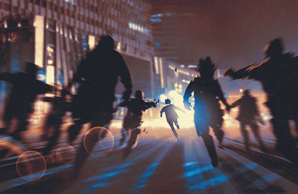 man running away from zombies in the night city man running away from zombies in night city,illustration,digital painting escaping stock illustrations