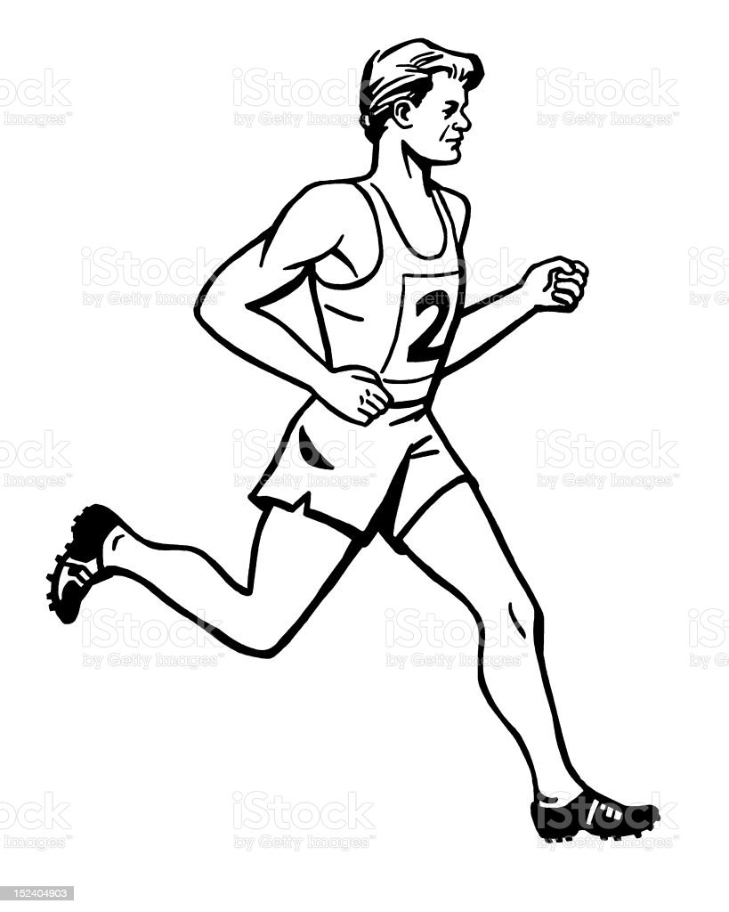 Man Running in a Race royalty-free stock vector art