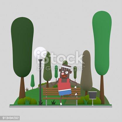 istock Man running in the park 913494202