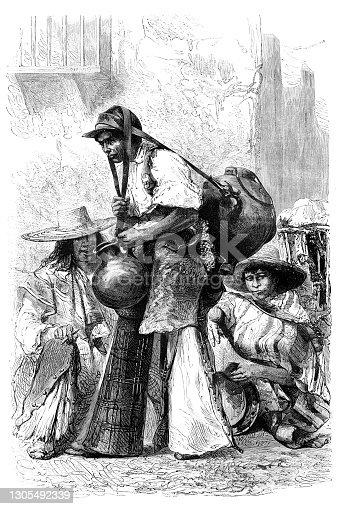 Hombre vende agua al mercado en México 1862