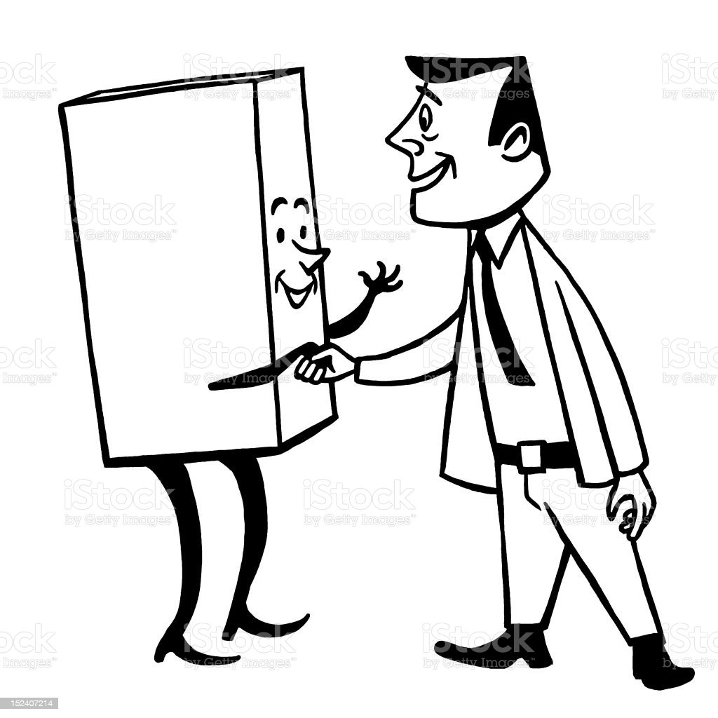 Man Shaking Hands With Box royalty-free stock vector art