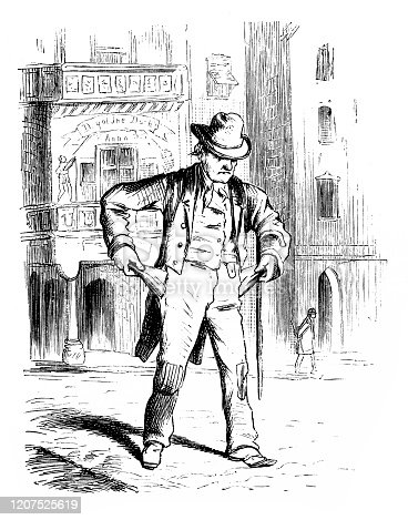 istock Man showing Empty Pockets in street 1207525619