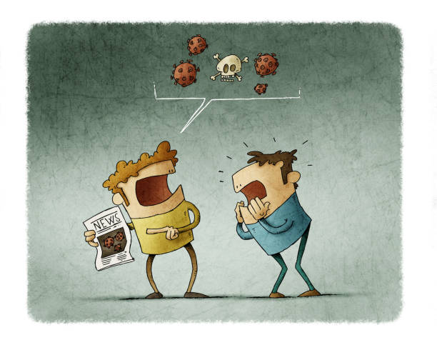 Man shows a newspaper with the news of a pandemic and the other man is really scared. vector art illustration