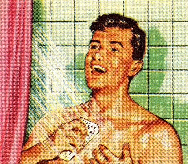 ilustrações de stock, clip art, desenhos animados e ícones de homem canta no chuveiro - tronco nu