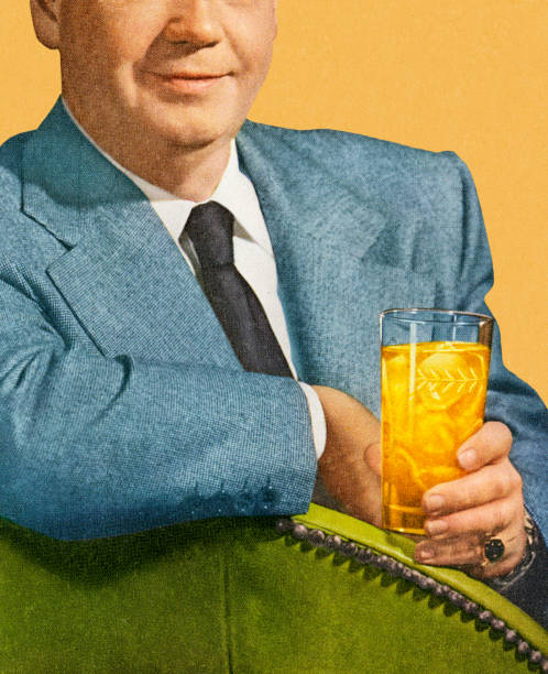 Man Sitting and Holding Drink Man Sitting and Holding Drink kitsch stock illustrations