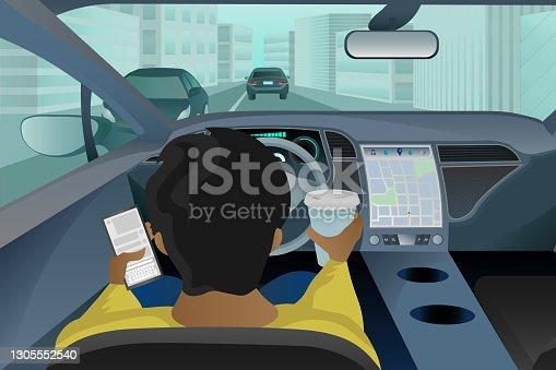 Man sitting behind the wheel of an autonomous vehicle