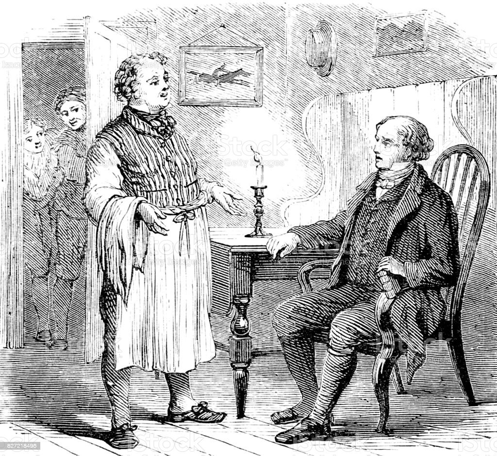 Man sitting in chair talking to a servant vector art illustration