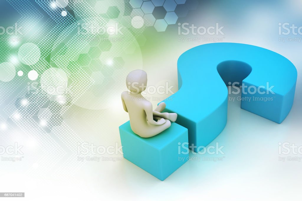 Mann sitzt auf einem Fragezeichen versehen. Business-Konzept. Lizenzfreies mann sitzt auf einem fragezeichen versehen businesskonzept stock vektor art und mehr bilder von blau