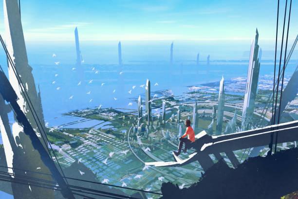 bildbanksillustrationer, clip art samt tecknat material och ikoner med mannen som sitter på kanten av byggnad tittar på framtidsstaden - future city