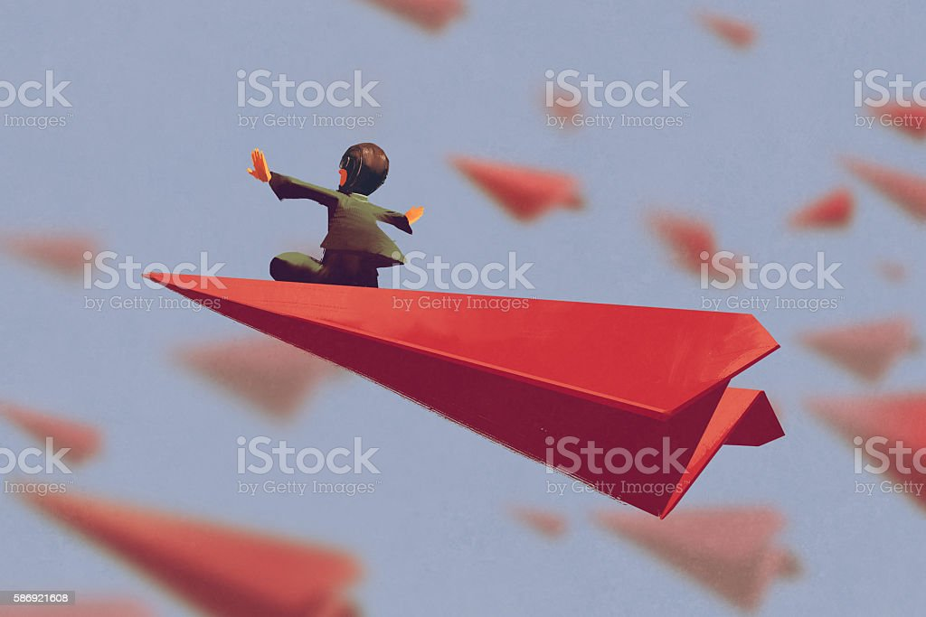 man sitting on red airplane paper in the sky vector art illustration