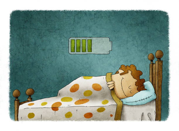 man sleeping at home and charging battery, health concept vector art illustration