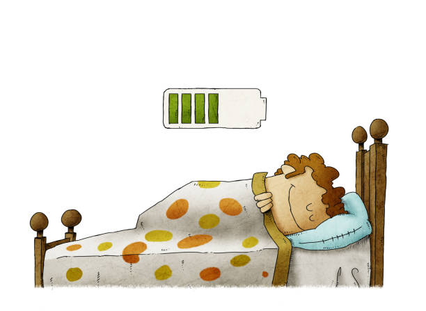 man sleeping at home and charging battery, health concept. isolated vector art illustration