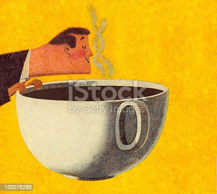 Man Smelling Giant Cup of Coffee
