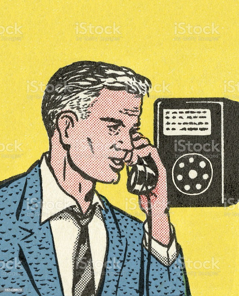 Man Speaking on Telephone vector art illustration