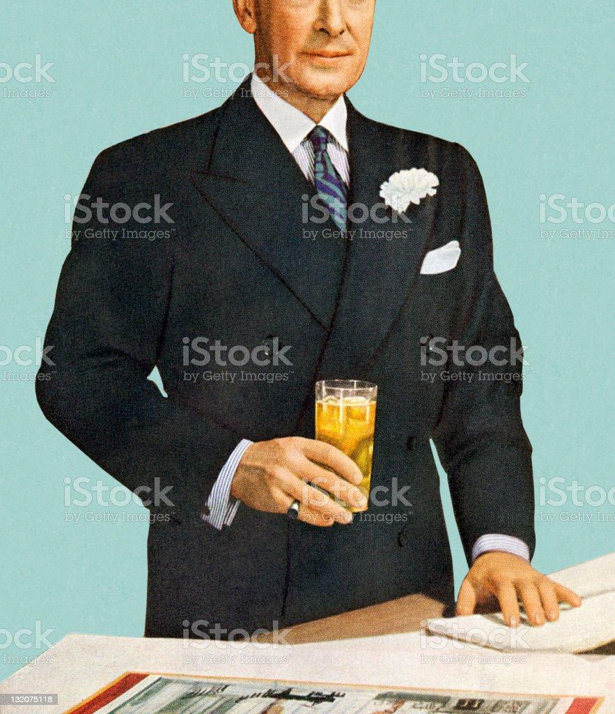 Man Standing Holding Drink vector art illustration