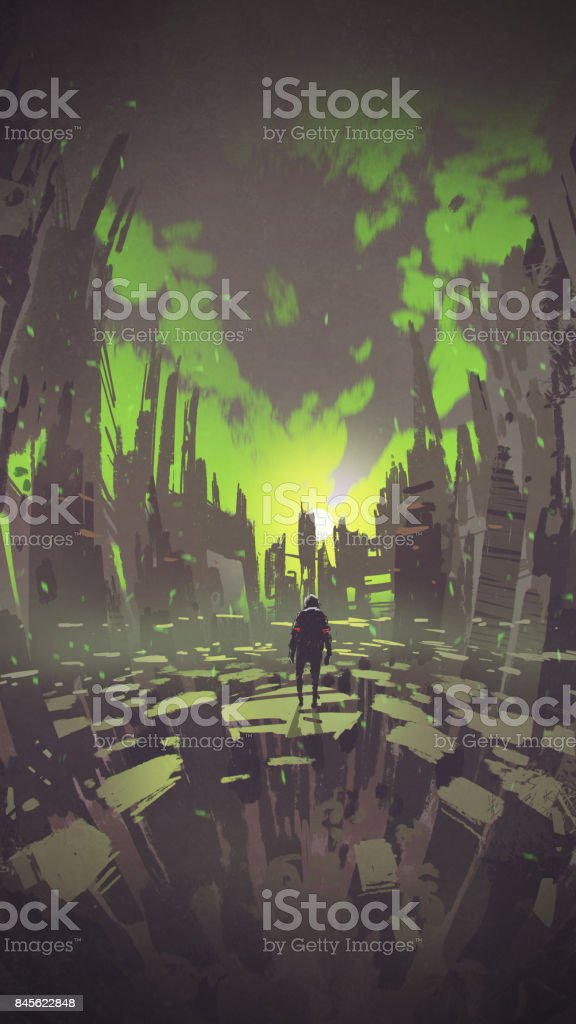 man standing in abstract city looking sunset vector art illustration