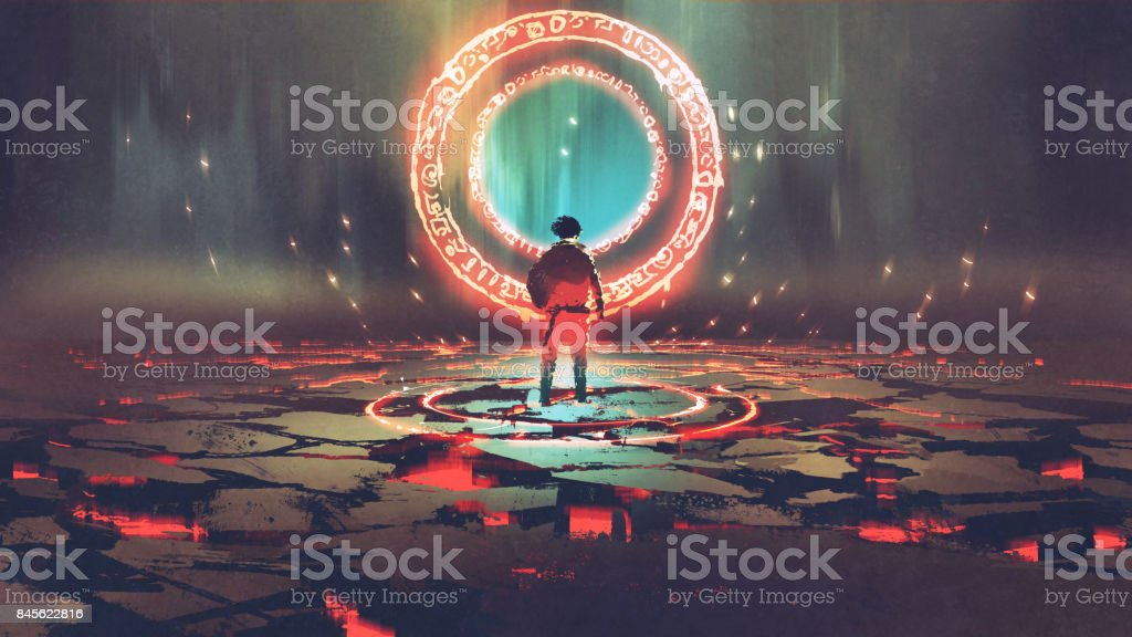 man standing in front of magic circle vector art illustration