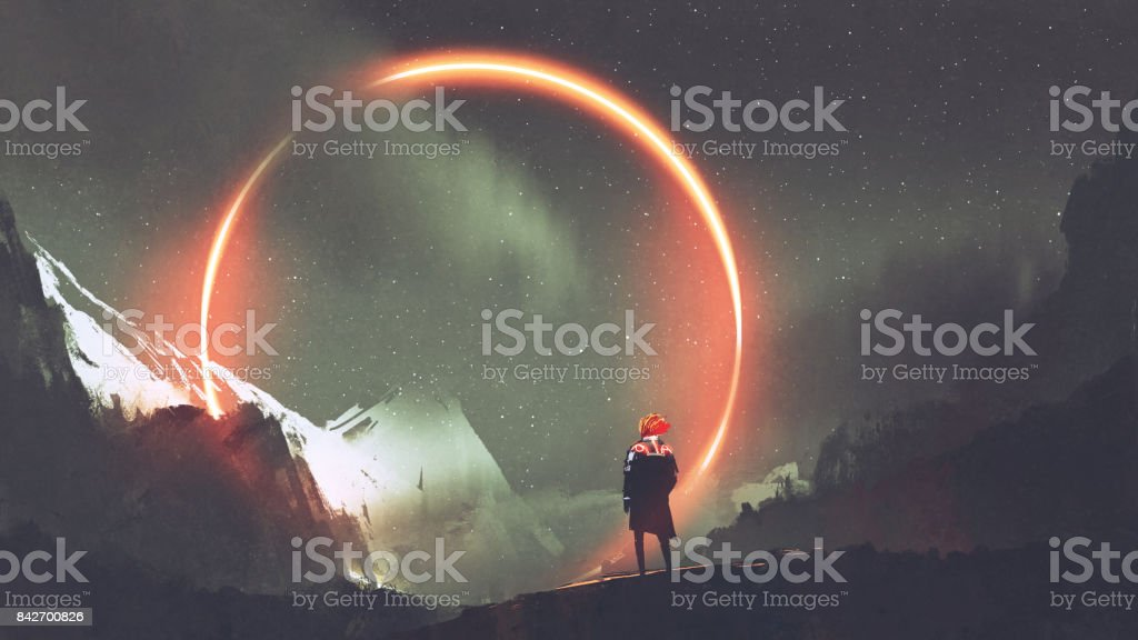 man standing in front of red light circle vector art illustration