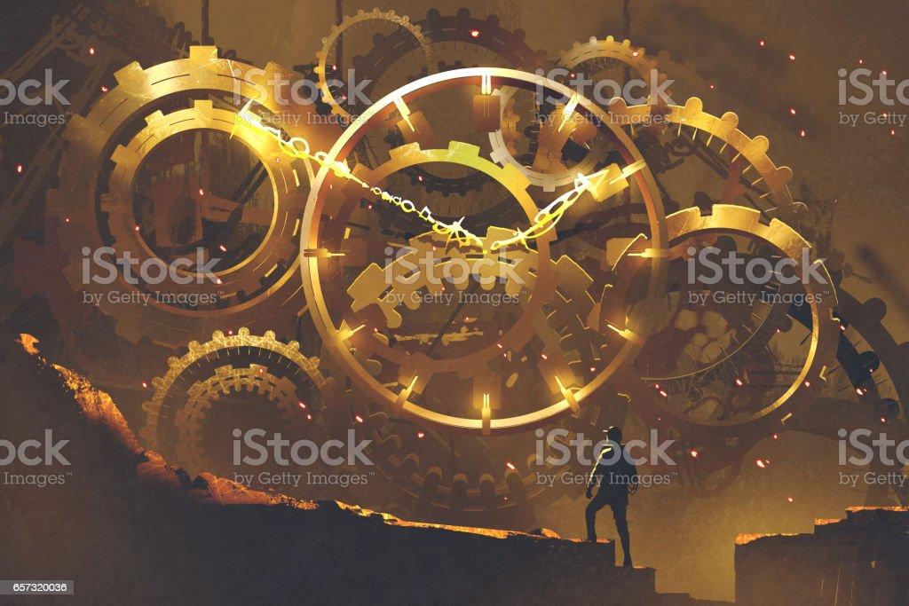 man standing in front of the big golden clockwork vector art illustration