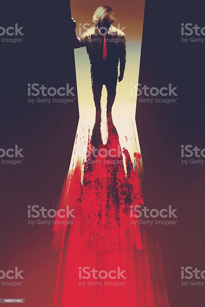man standing in front of the door,illustration vector art illustration