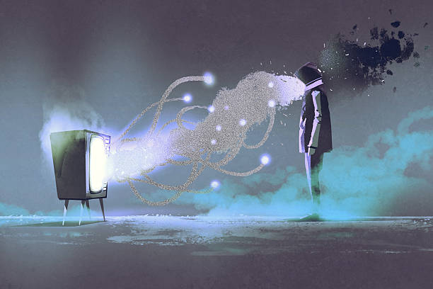 man standing in front of unusual television vector art illustration