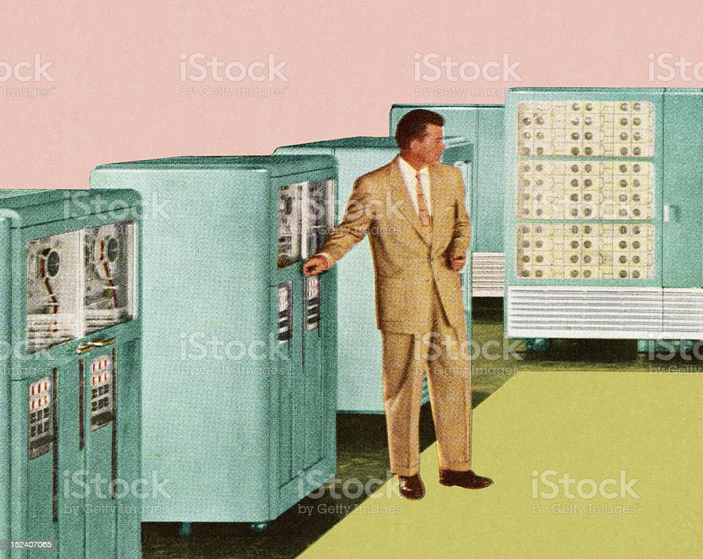Man Standing Next to Office Equipment royalty-free stock vector art