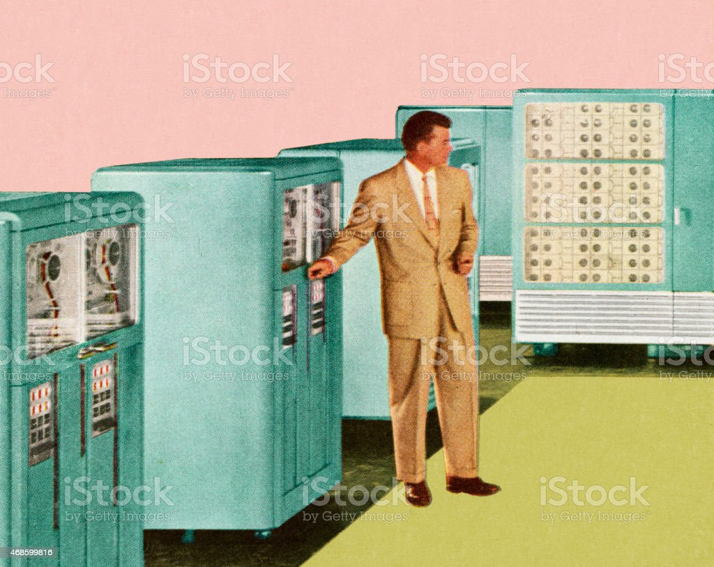 Man Standing Next to Office Equipment vector art illustration