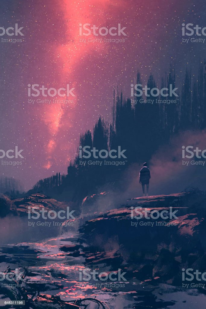 man standing on the rock with waterfall looking at the night sky man standing on the rock with waterfall looking at the night sky,illustration painting Acrylic Painting stock illustration