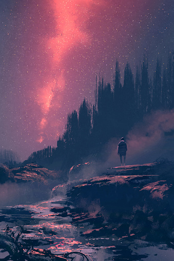 Man Standing On The Rock With Waterfall Looking At The Night Sky Stock Illustration - Download Image Now