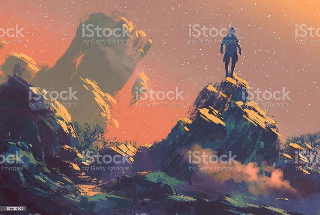 man standing on top of the hill watching the star vector art illustration