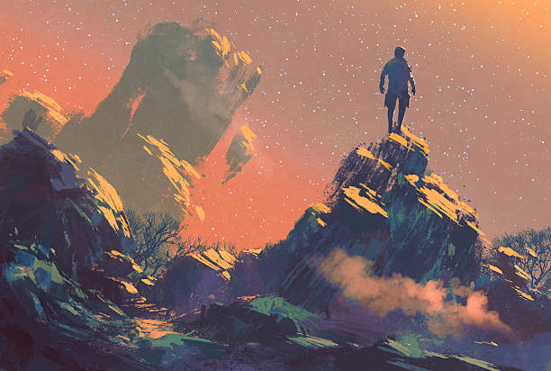 man standing on top of the hill watching the star man standing on top of the hill watching the stars,illustration painting dreamlike stock illustrations