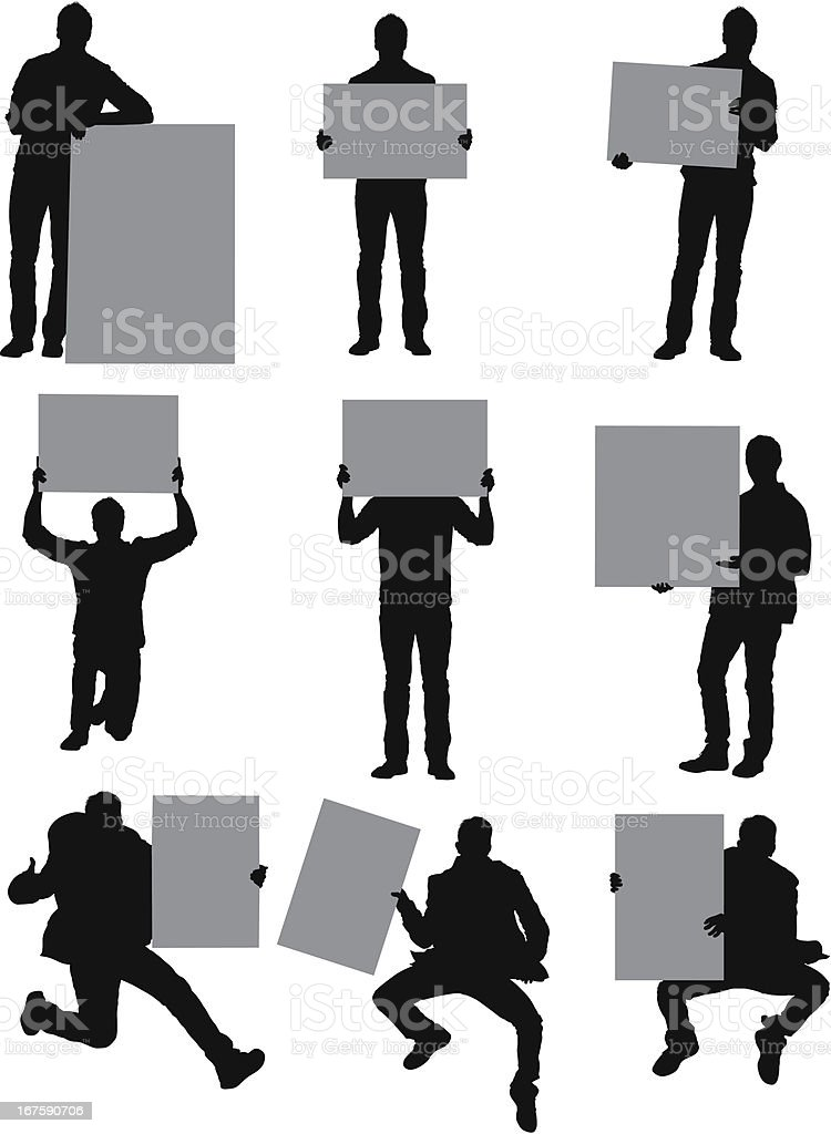 Man standing with placards royalty-free stock vector art
