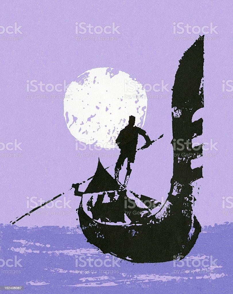 Man Steering Gondola royalty-free stock vector art