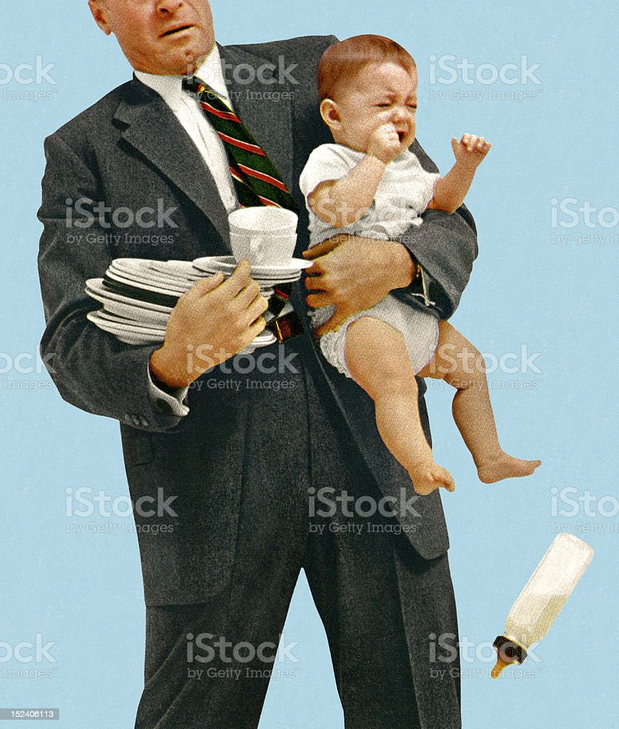 Man Struggling to Hold Baby and Dishes vector art illustration