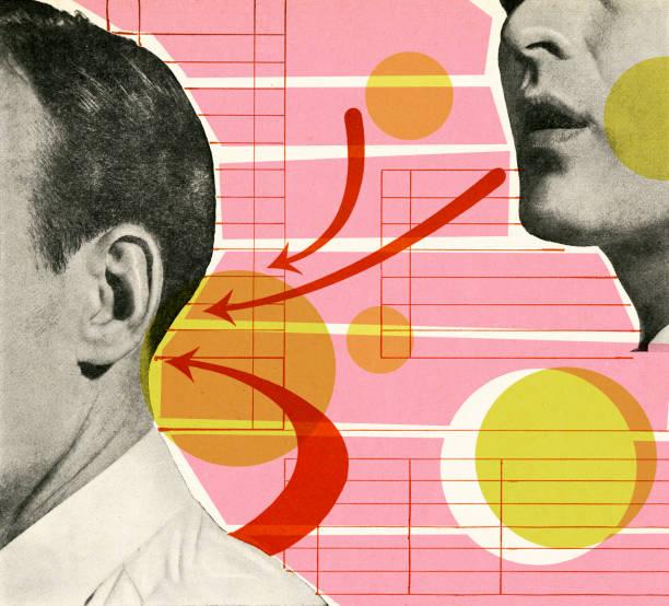 bildbanksillustrationer, clip art samt tecknat material och ikoner med man talking to back of another man's head - listen