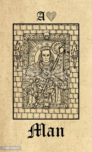 Man. Tarot card from Lenormand Gothic Mysteries oracle deck.