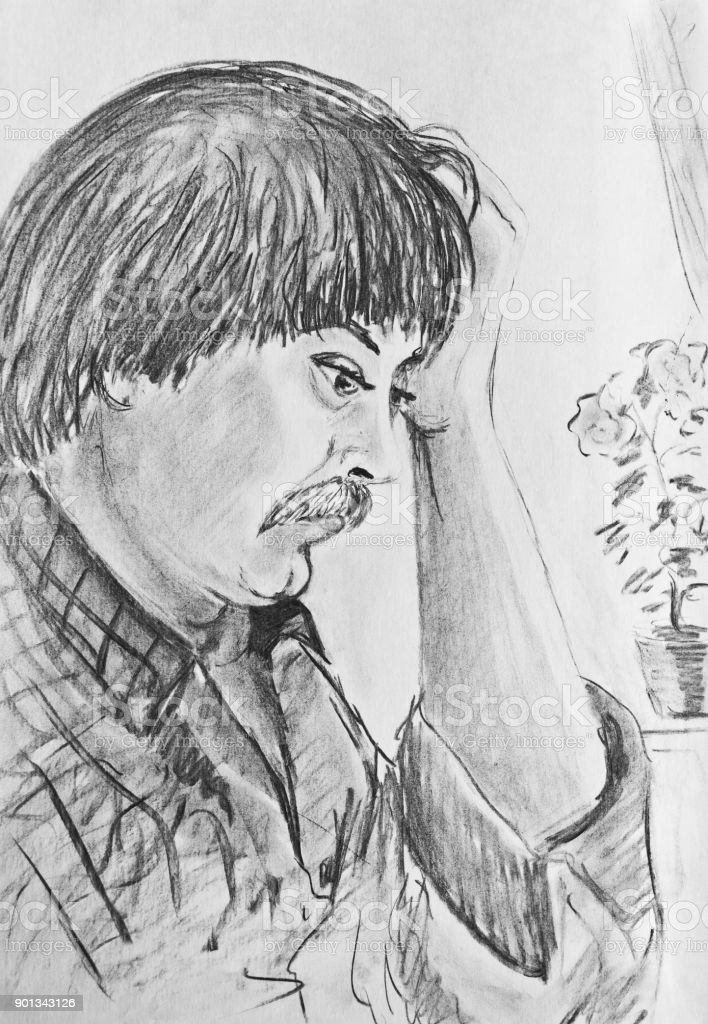 Man thinks. A young man keeps his hand behind head vector art illustration