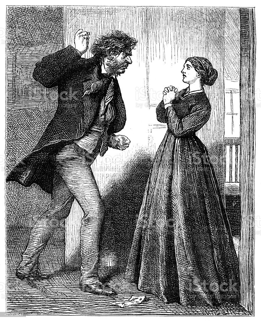 Man threatening to hit woman interior scene  1867 magazine royalty-free stock vector art