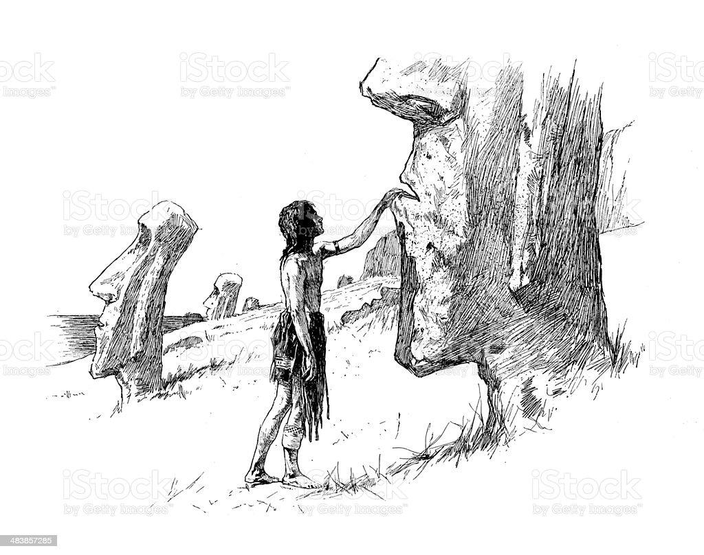 Man Touching Moai vector art illustration