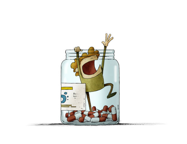 man trapped in a bottle of pills tries to scream for help. isolated vector art illustration