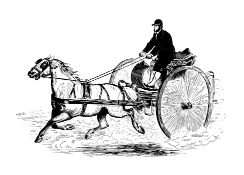 Man Travelling With Horse Carriage Antique Design