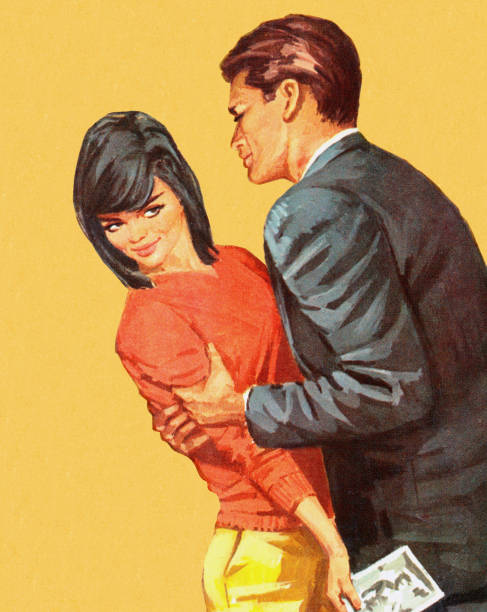 Man Trying to Hold Dark Haired Woman Man Trying to Hold Dark Haired Woman flirting stock illustrations