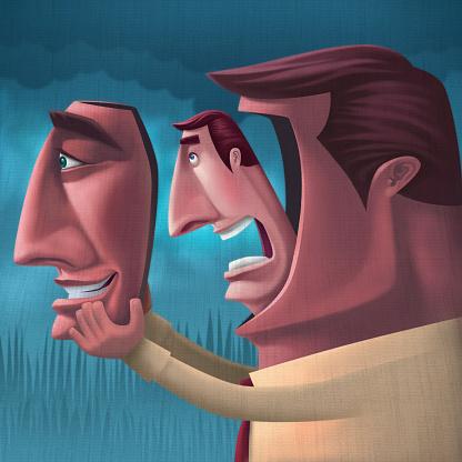 raster illustration of man unmasking and breathing…