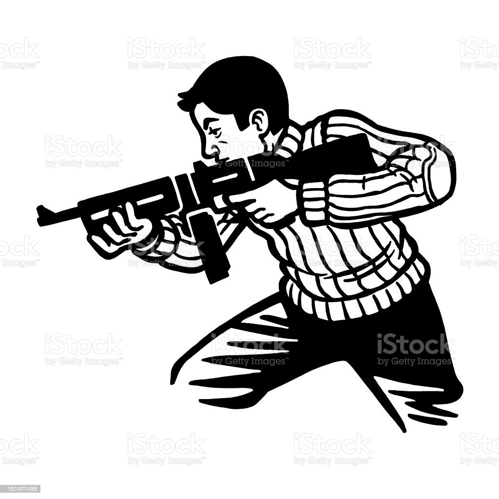 Man Using Automatic Rifle royalty-free stock vector art
